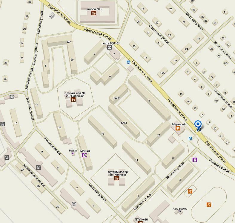 Схема района расположения ДОУ: